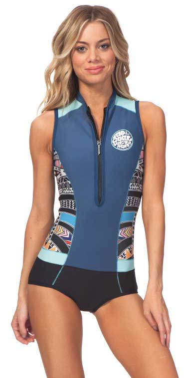 Rip Curl G-Bomb Wetsuit Women's Sleeveless Sublimated 1mm Springsuit G-Bomb  Cap Sleeve Blue