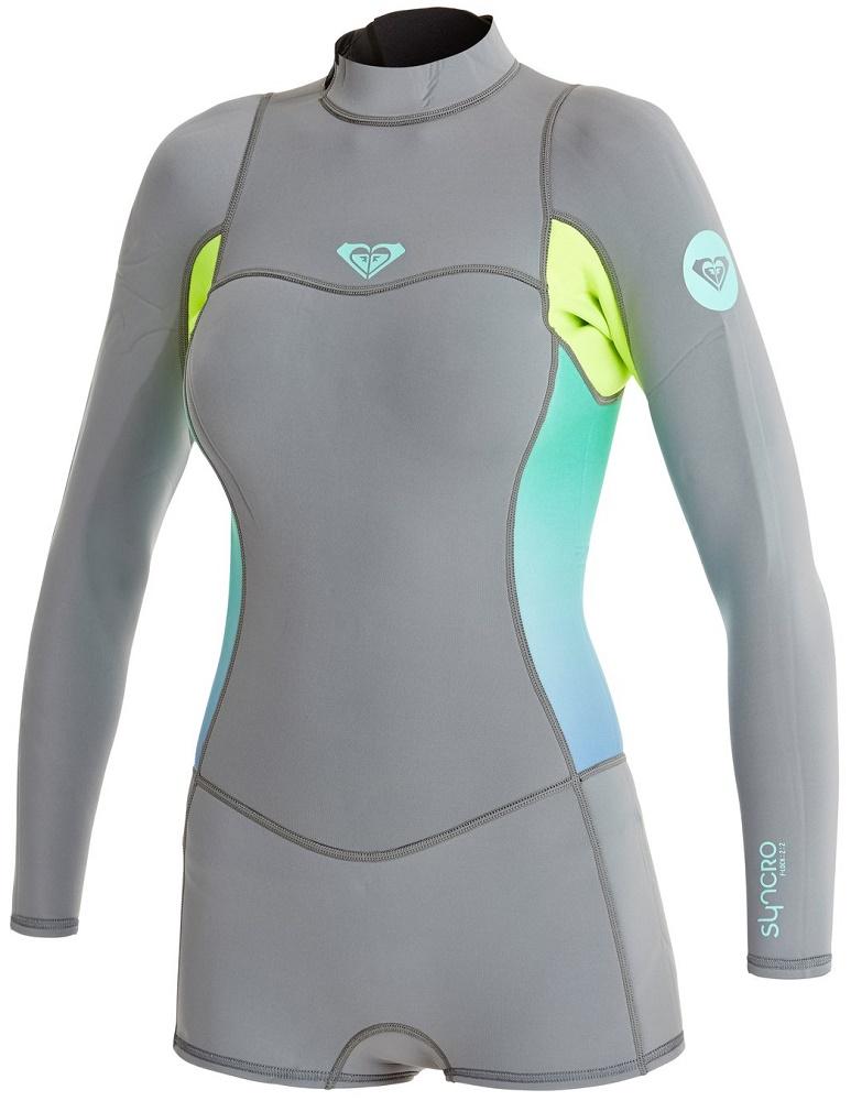 fee846f66d Roxy Syncro Booty Cut 2mm Springsuit Womens Long Sleeve Wetsuit - Grey  Lemon ARJW403009-XKKG