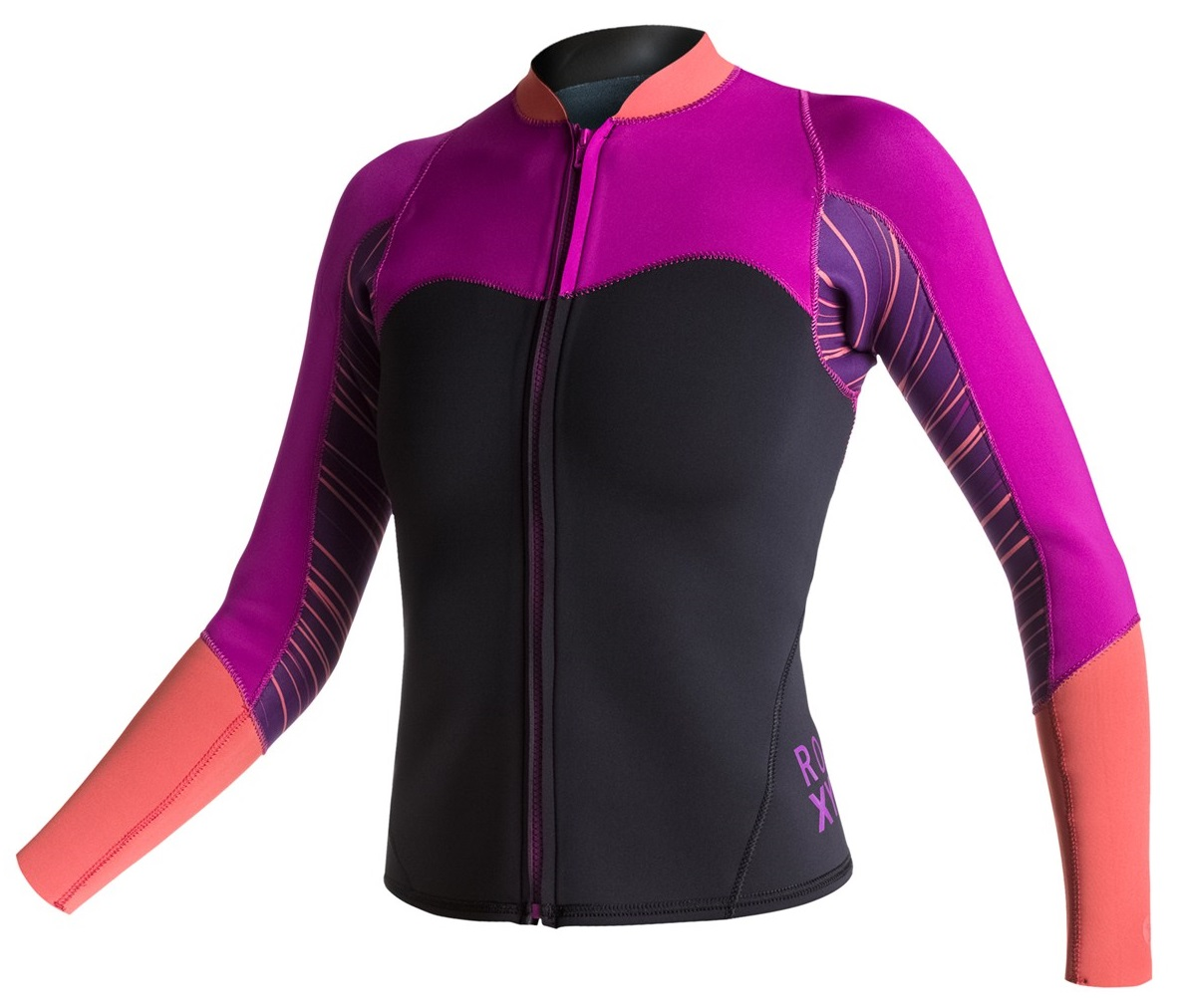 Roxy XY Jacket Women s 2mm Front Zip Neoprene Black Purple ... ee7e46ac4