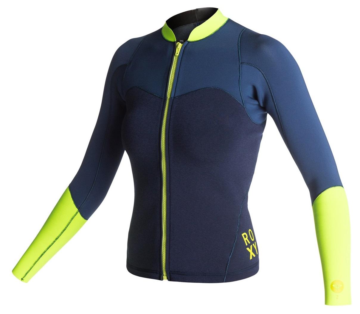 Roxy XY Women s 2mm Front Zip Neoprene Jacket Blue Yellow ARJW803006-XBBY  b97dc5973