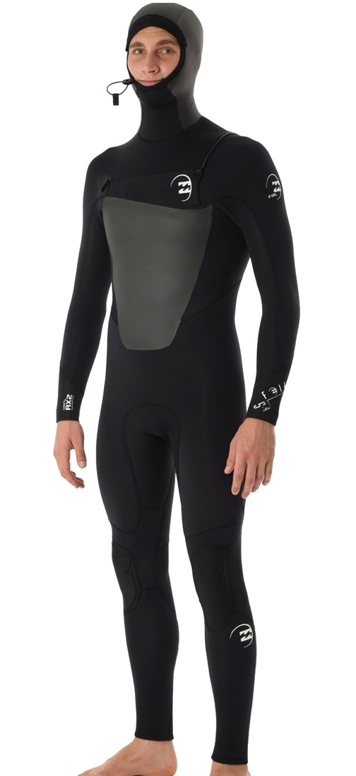 Billabong Foil Wetsuit Men s 5 4mm 504 Hooded GBS Chest Zip MWFU7FC5BLK  63f04fe67