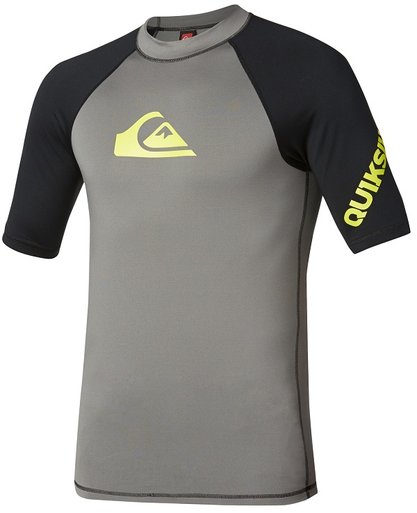 183c9d348460 Quiksilver All Time Short Sleeve Men's Rashguard 50+ UV Protection - Grey /Black