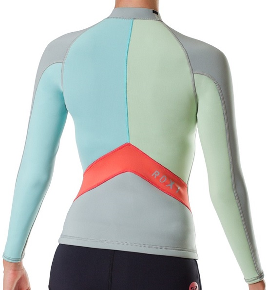 539e412db975 Roxy SYNCRO 1.5mm Neoprene Jacket Long Sleeves Grey Blue Green