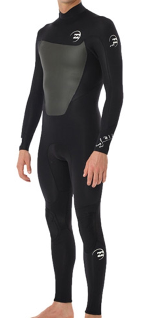 Billabong Foil 302 Men's Back Zip 3/2mm Flatlock Full Wetsuit - Black