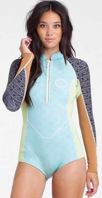 Billabong Salty Dayz Wetsuit Women's Long Sleeve Front Zip Springsuit Surf Capsule- Multi