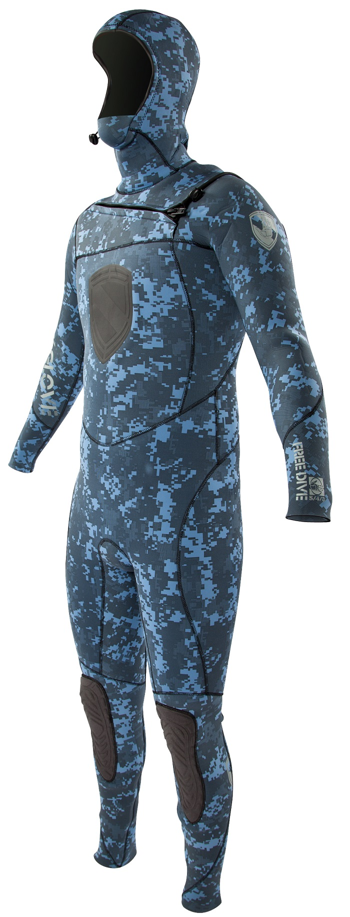 Body Glove 5/4/3mm EX3 Men's Free Dive Hooded Camo Wetsuit- NEW Blue Camo!