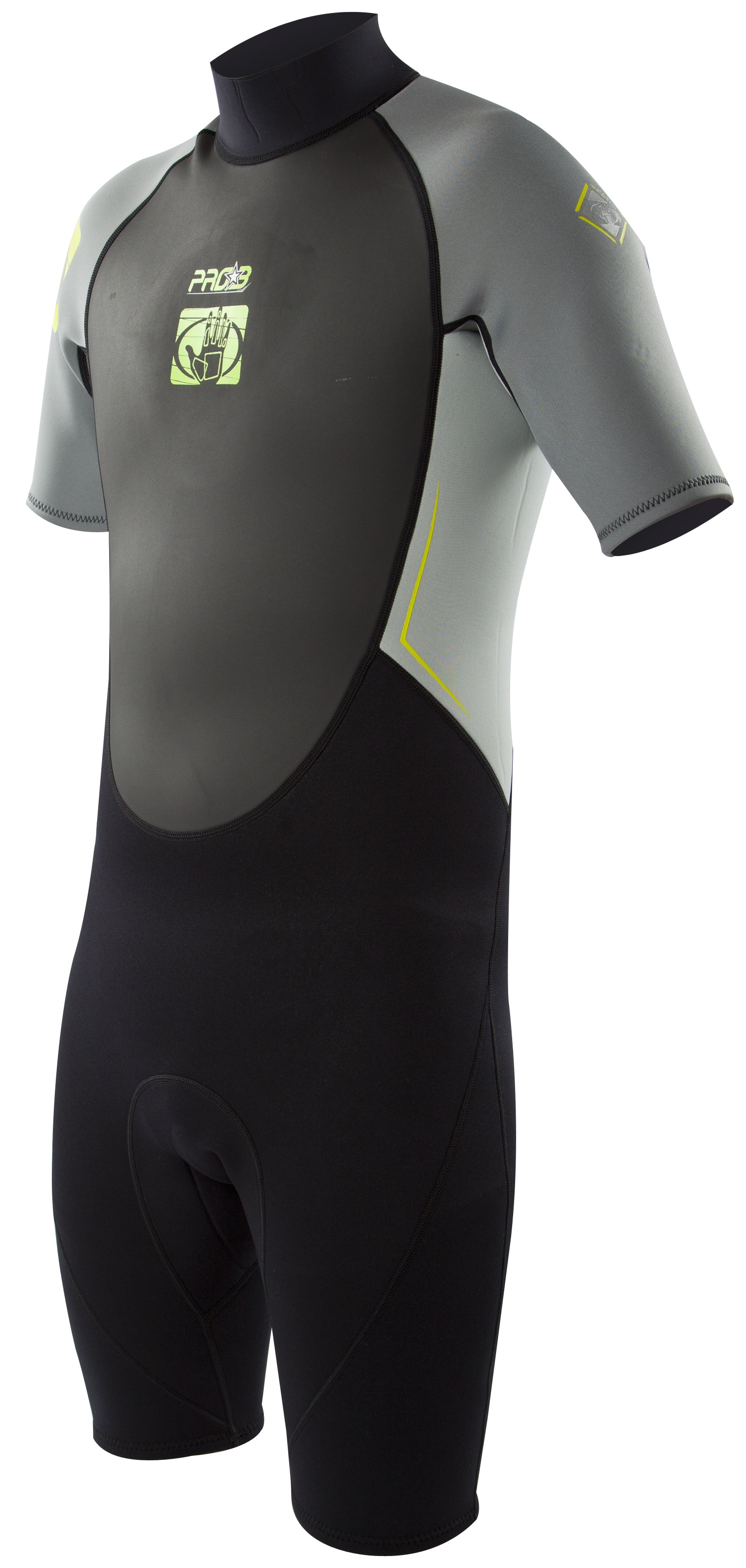 Body Glove Men's Pro3 2/1mm Springsuit Wetsuit - Black/Grey/Lime -