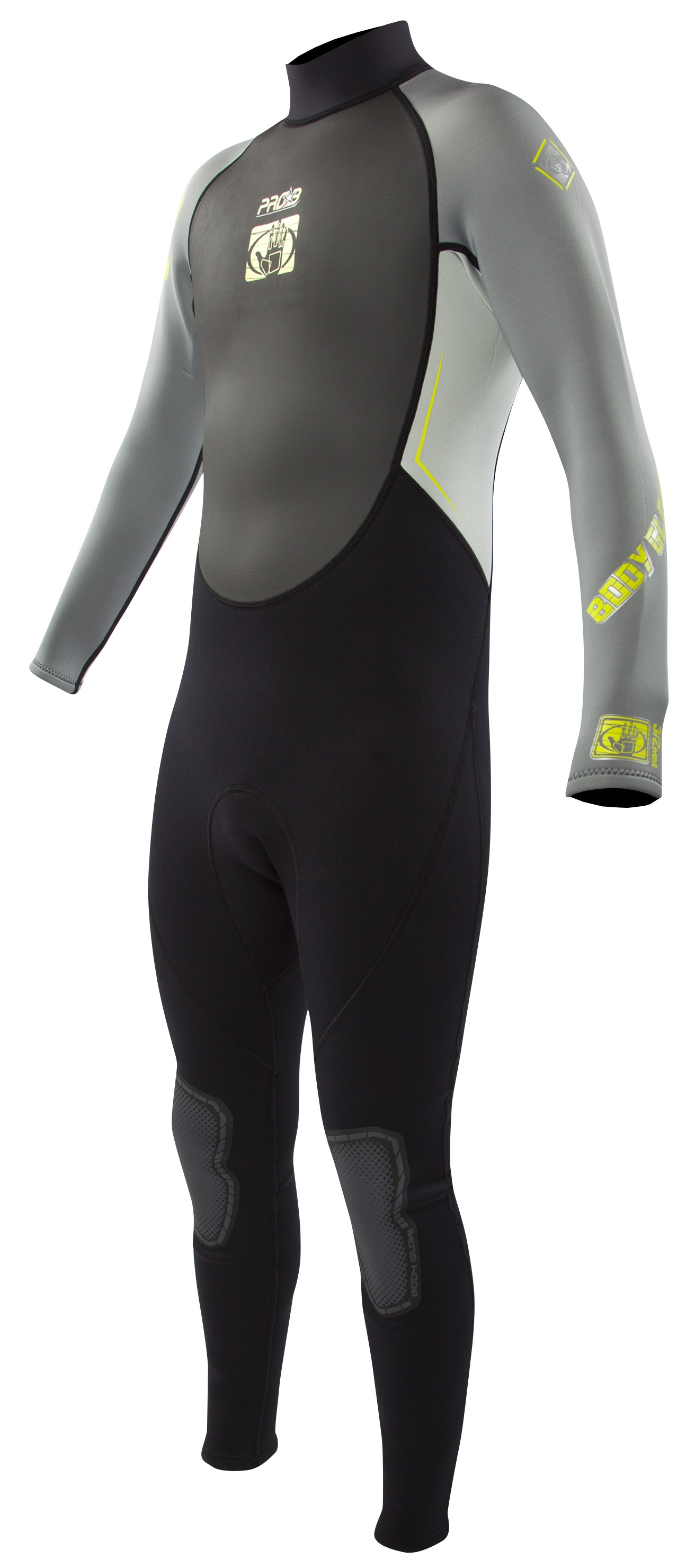 Body Glove Men's Pro 3 3/2mm Full Wetsuit - Black/Grey/Lime