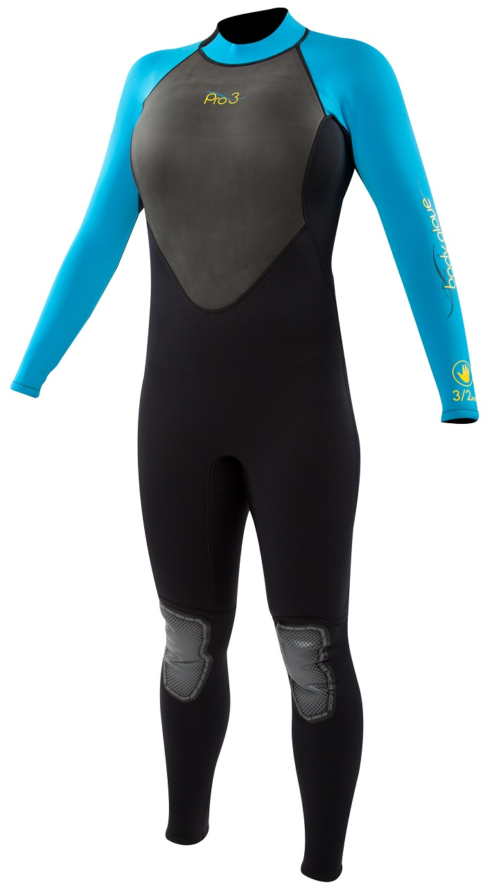 The super stretch Body Glove Pro3 Women's full wetsuit is available in black and blue at PleasureSports.com