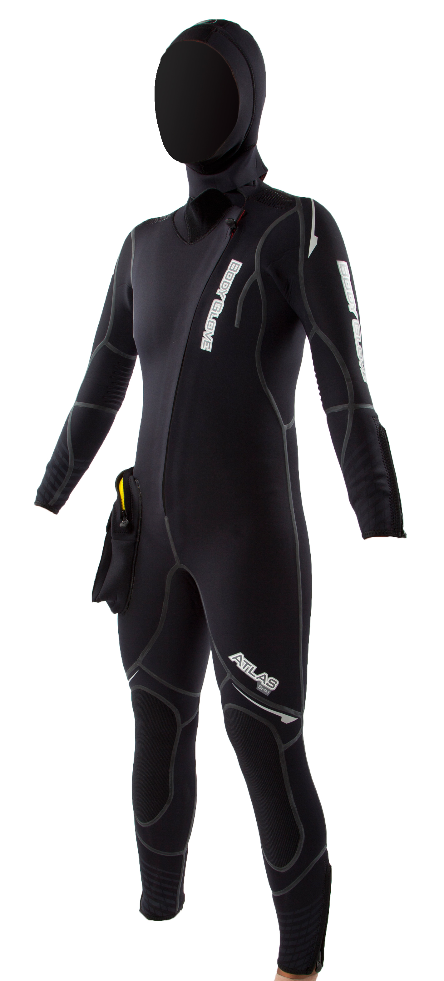 Body Glove Women's Atlas Front Zip Dive Suit 5mm With Hood - Black