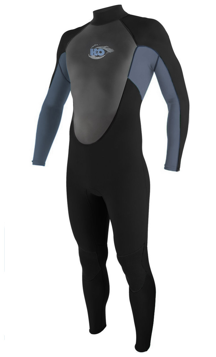 H2Odyssey Men's Wetsuit 3/2mm Surfing Diving Flatlock - Black/Grey -