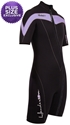 Henderson Women's Thermoprene 3mm Shorty Springsuit Front Zip Wetsuit Plus Sizes Available Purple / Black