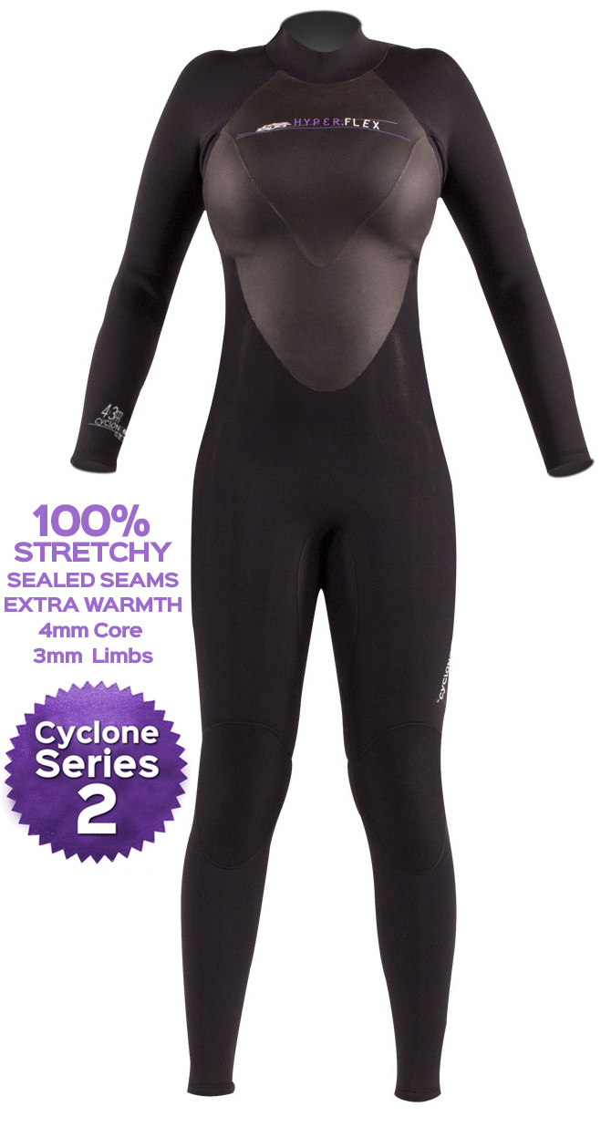 Women's Hyperflex Cyclone Wetsuit 3/2mm Surfing Diving Wetsuit