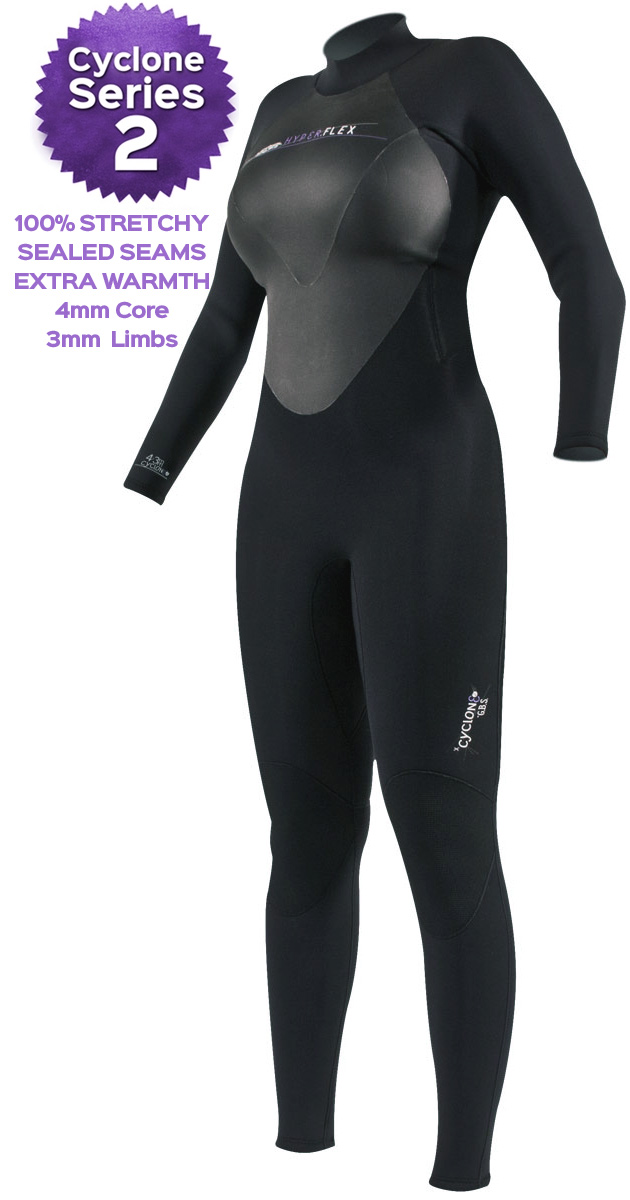 Hyperflex Cyclone 2 Women's Wetsuit 3/2mm Surfing Diving - ALL NEW DESIGN!