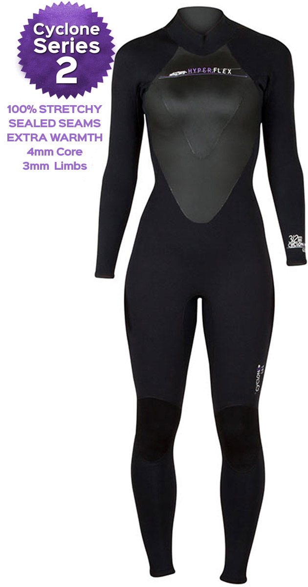 Hyperflex Cyclone 2 4/3mm Women's Wetsuit - ALL NEW DESIGN! -