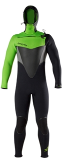 Men's Hyperflex VOODOO 5/4mm Hooded Front Zip Fullsuit - Blk/Green