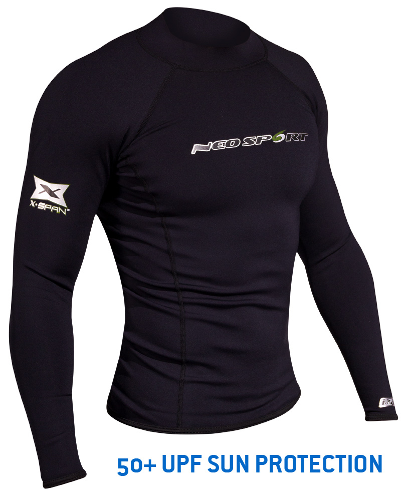 NeoSport Mens 1.5mm XSPAN Long Sleeve Top Neoprene Black