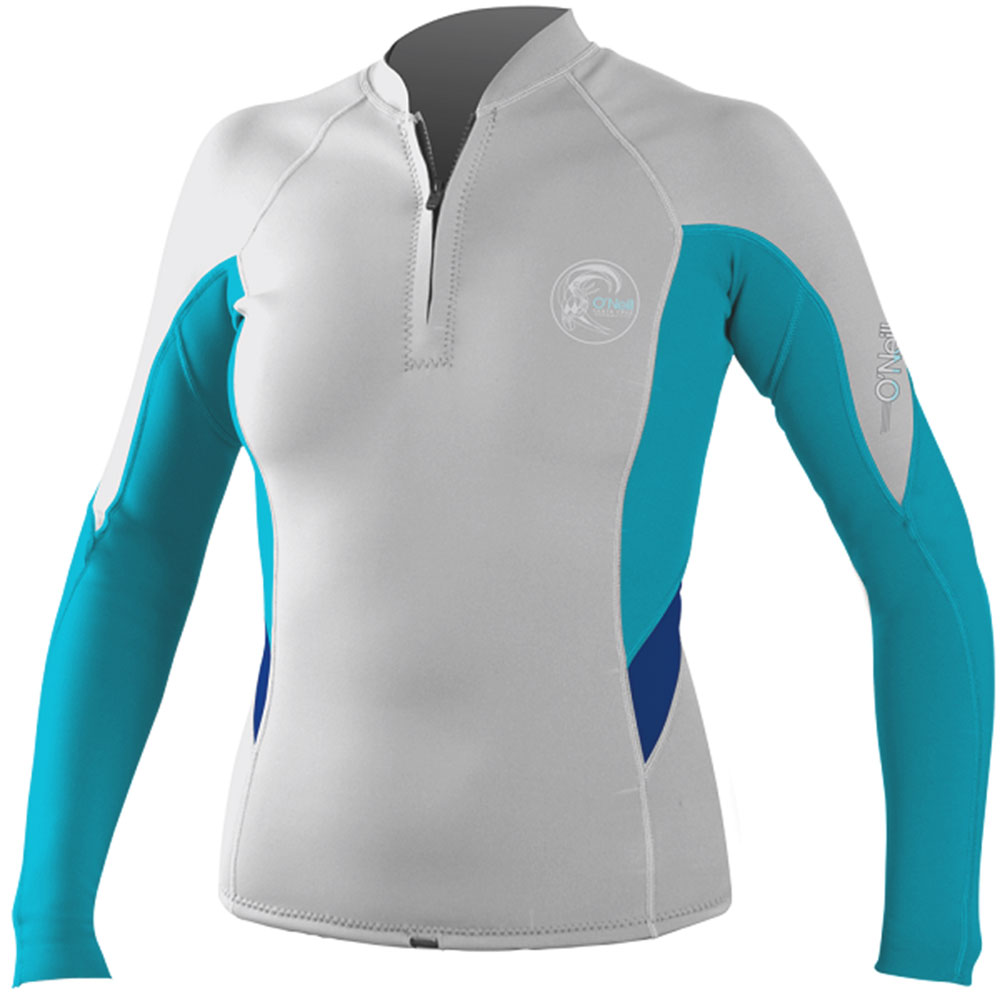 O'Neill Bahia Women's Front Zip Jacket 1mm Neoprene Grey/Teal -