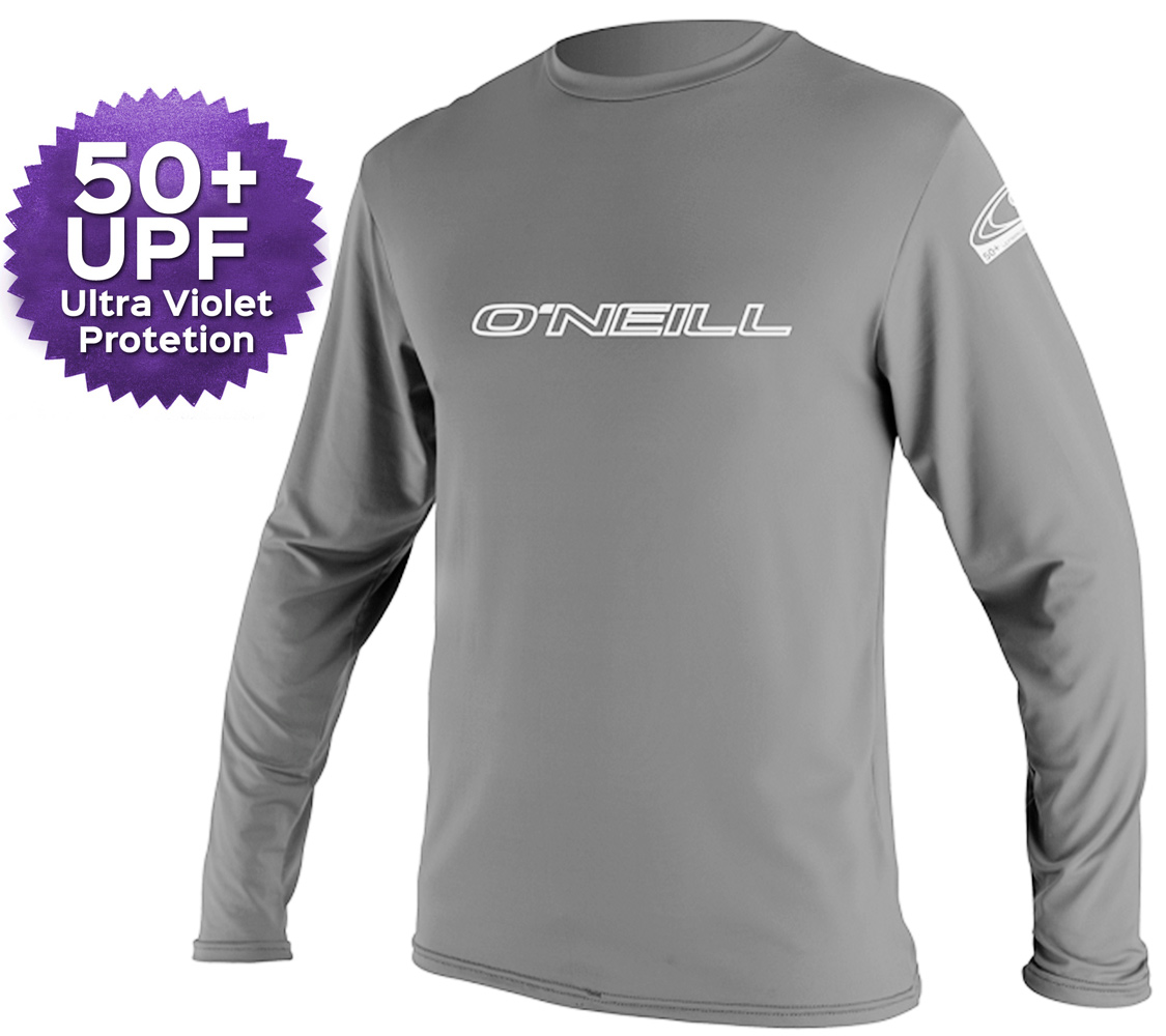 O'Neill Basic Skins Long Sleeve Men's Rashguard 50+ UV Protection - Grey