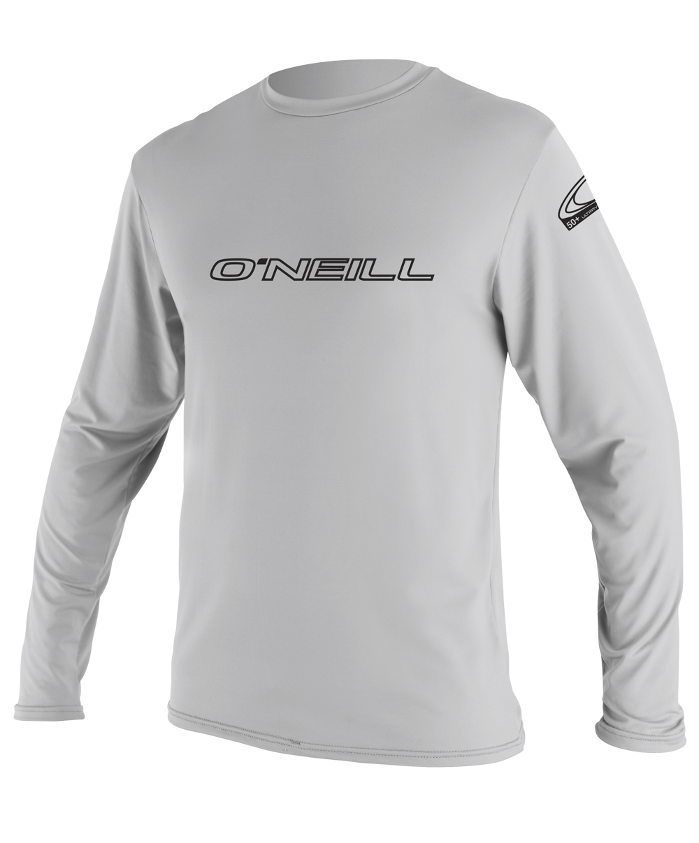 O'Neill Basic Skins Long Sleeve Rash Tee Men's Rashguard 50+ UV Protection  - Light Grey