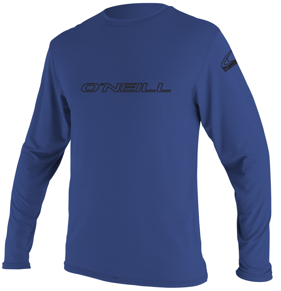 O'Neill Basic Skins Long Sleeve Rashguard 50+ UV Protection - Pacific Blue