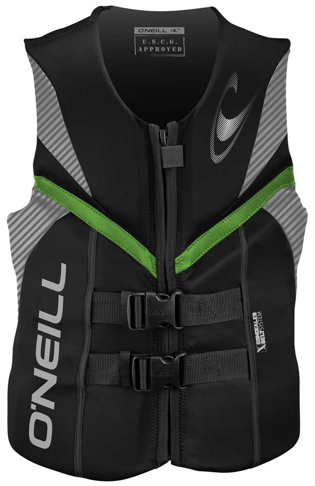O'Neill Reactor USCG Life Vest Skiing Wakeboarding Vest  - Black/Lunar/Day Glo