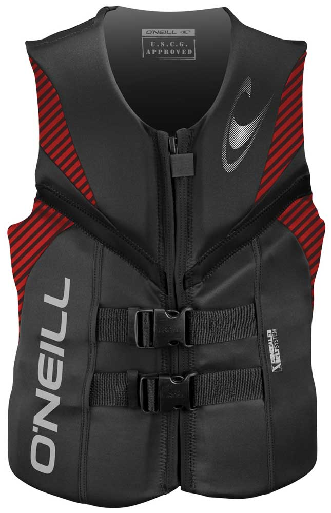 O'Neill Reactor USCG Life Vest Skiing Wakeboarding Vest - Grey/Red/Black