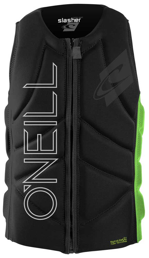 O'Neill Slasher Comp Wakeboard and Waterski Vest - Black/Day Glo