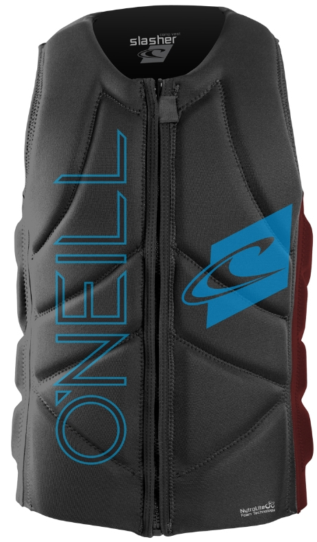 O'Neill Slasher Comp Vest Wakeboard and Waterski Grey/Maroon