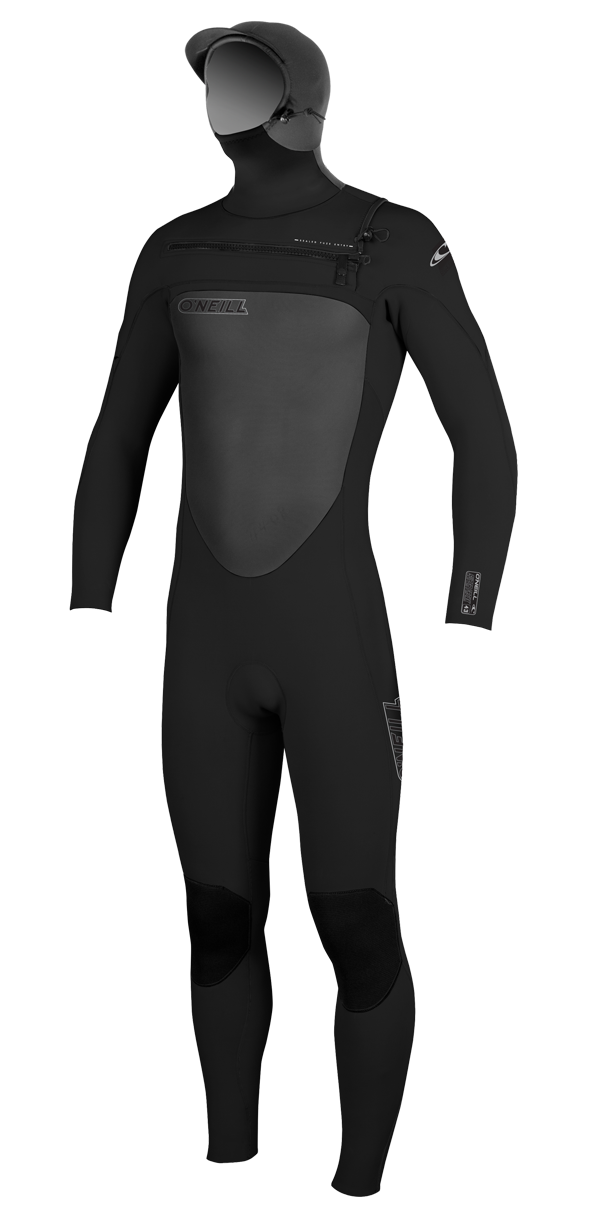 O'Neill Superfreak Wetsuit Men's 5/4mm F.U.Z.E. Zip Hooded Wetsuit Chest Entry