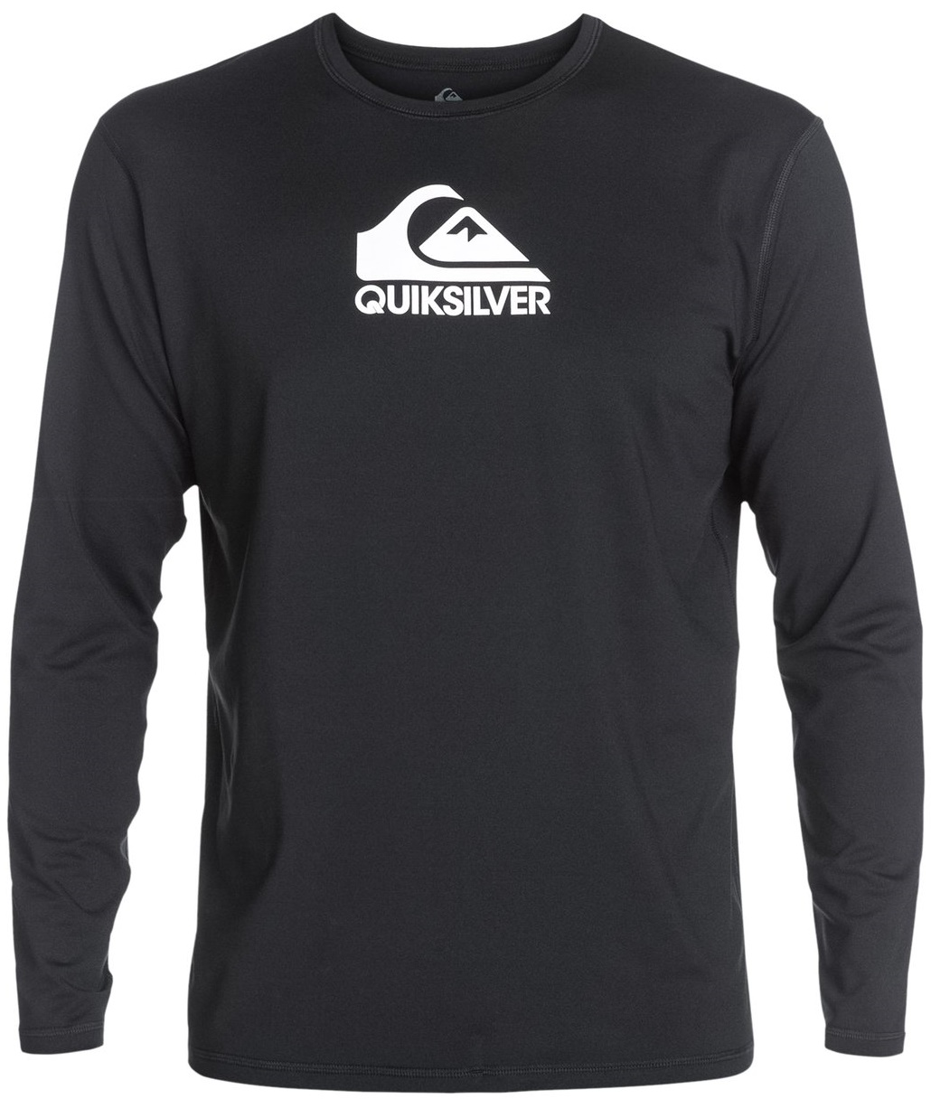 Quiksilver Men's Rashguard Long Sleeve Loose Fit  Solid Streak - Black