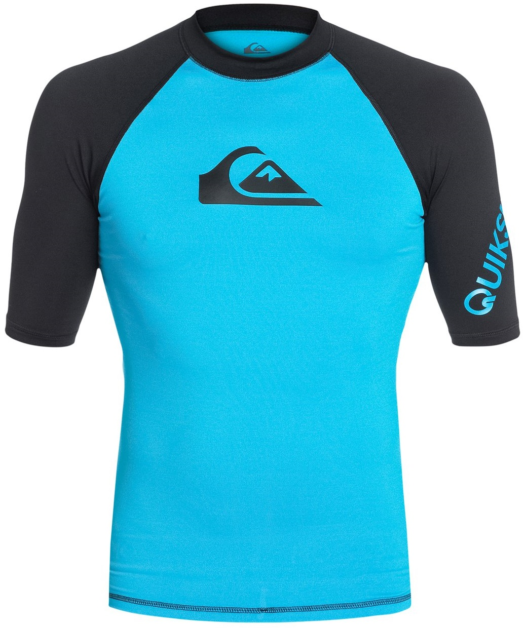 Quiksilver Men's Rashguard Short Sleeve All Time 50+ UV Protection - Blue/Black