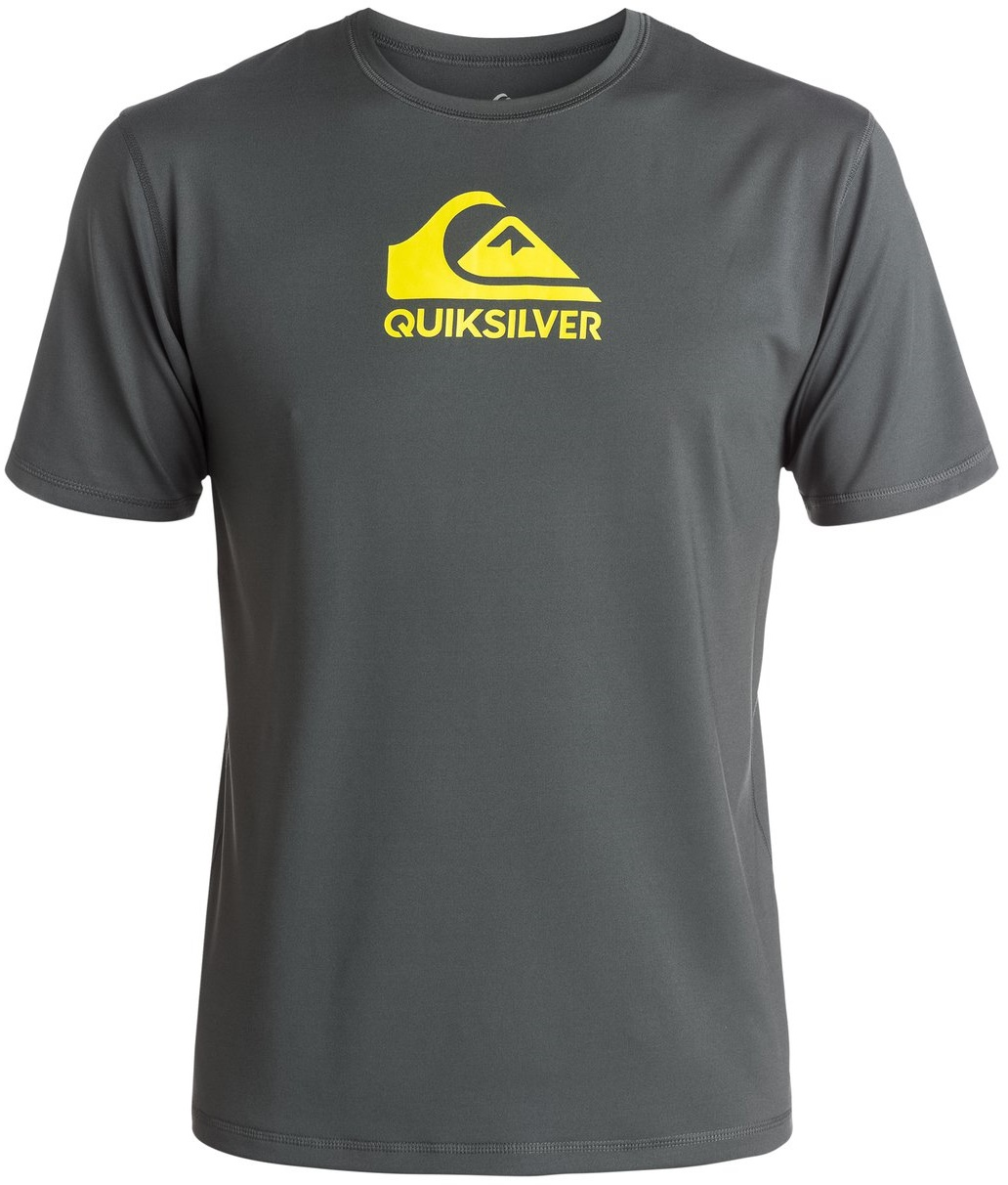 Quiksilver Men's Rashguard Short Sleeve Loose Fit  Solid Streak - Grey