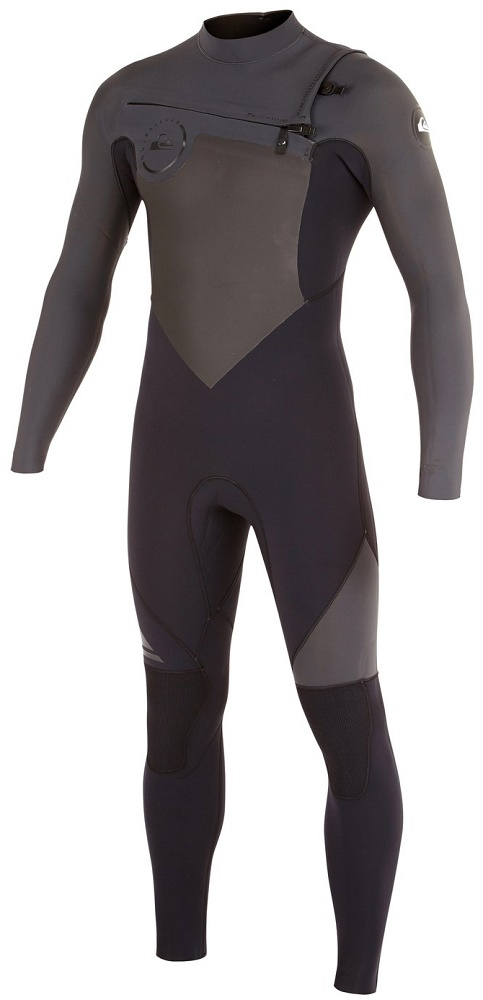 Quiksilver Syncro Wetsuit Men's 4/3 Chest Zip Men's Wetsuit - Black/Grey
