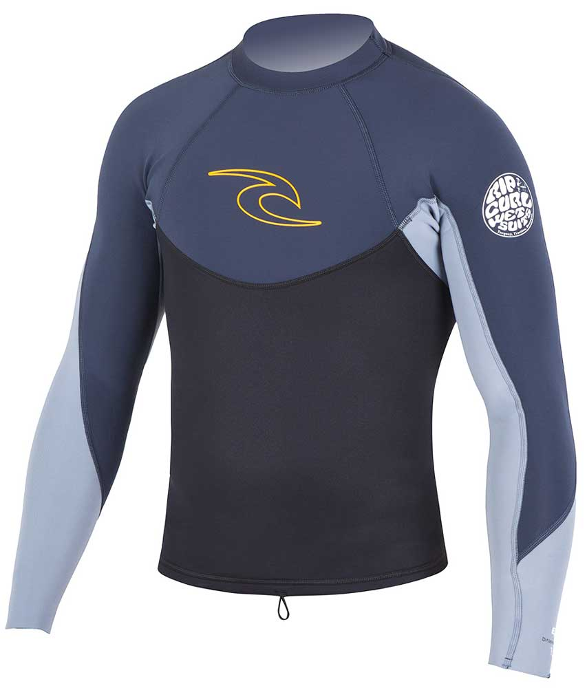 Rip Curl Dawn Patrol Men's Long Sleeve 1.5mm Neoprene Jacket - Grey/Blue