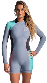 Rip Curl Dawn Patrol Women's Springsuit Long Sleeve 2mm Grey Turquoise