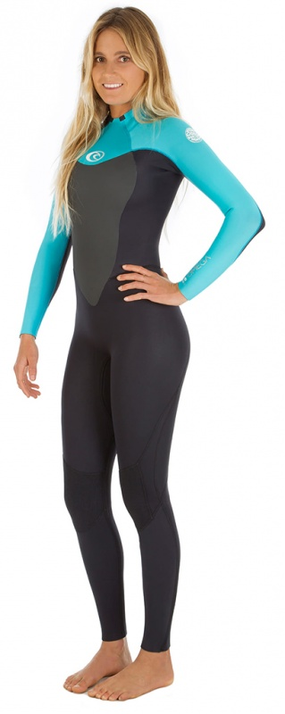 Rip Curl Omega 3/2mm Womens Full Wetsuit - Black/Turquoise