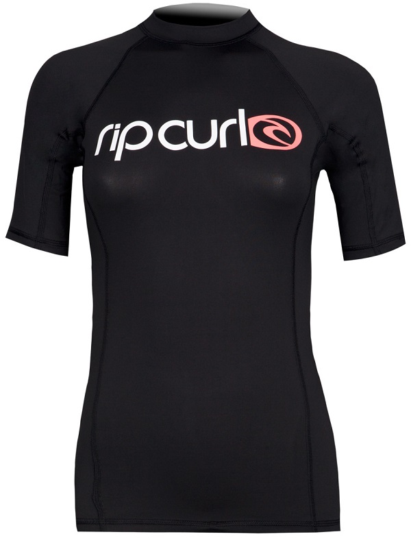 Rip Curl Surf Team Women's Short Sleeve Rashguard 50+ UV Protection - Black
