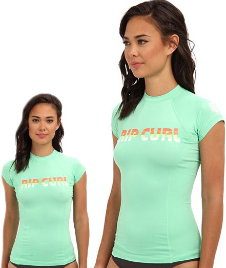 Rip Curl Women's Rashguard Sunrise Sunset Cap Sleeve 50+ UV Protection - Mint -
