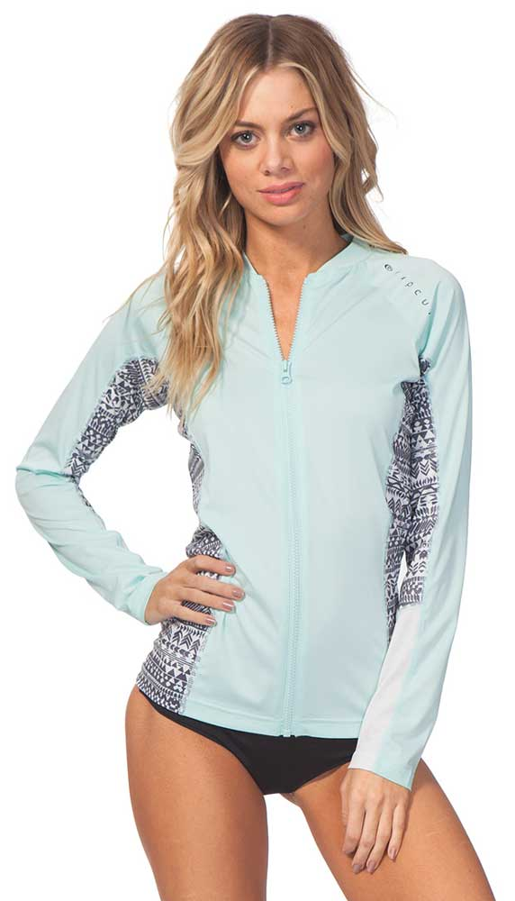 Rip curl trestles l s front zip uv tee teal women 39 s for Uv long sleeve shirt womens