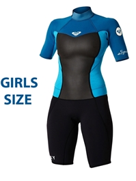 Roxy GIRLS Junior SYNCRO WETSUIT 2mm Youth Shorty Wetsuit - Teal