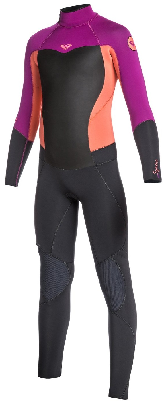 Roxy Girls Wetsuit 3/2mm Syncro GBS Sealed Seams-Grey/Purple