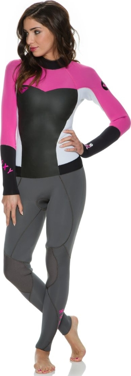 Roxy Syncro 4/3mm Wetsuit Women's Back Zip GBS LIMITED EDITION - Grey/Pink/White
