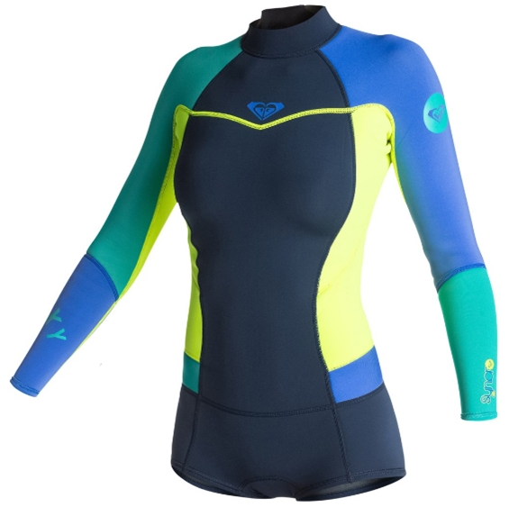 Roxy Syncro Booty Cut Springsuit Womens Long Sleeve Wetsuit LIMITED EDITION - Navy/Lemon/Purple