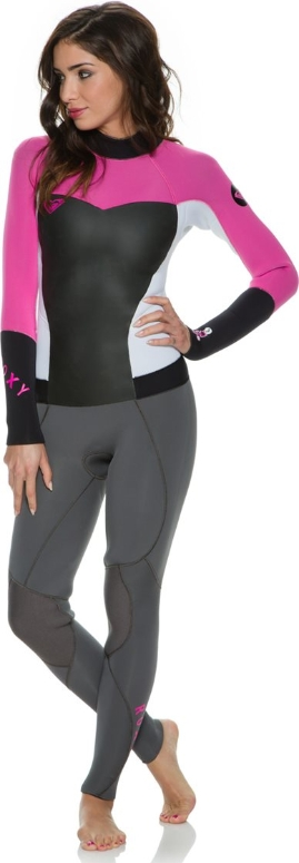 Roxy Syncro Wetsuit Women's 3/2mm Flatlock Wetsuit LIMITED EDITION - Grey/White/Pink