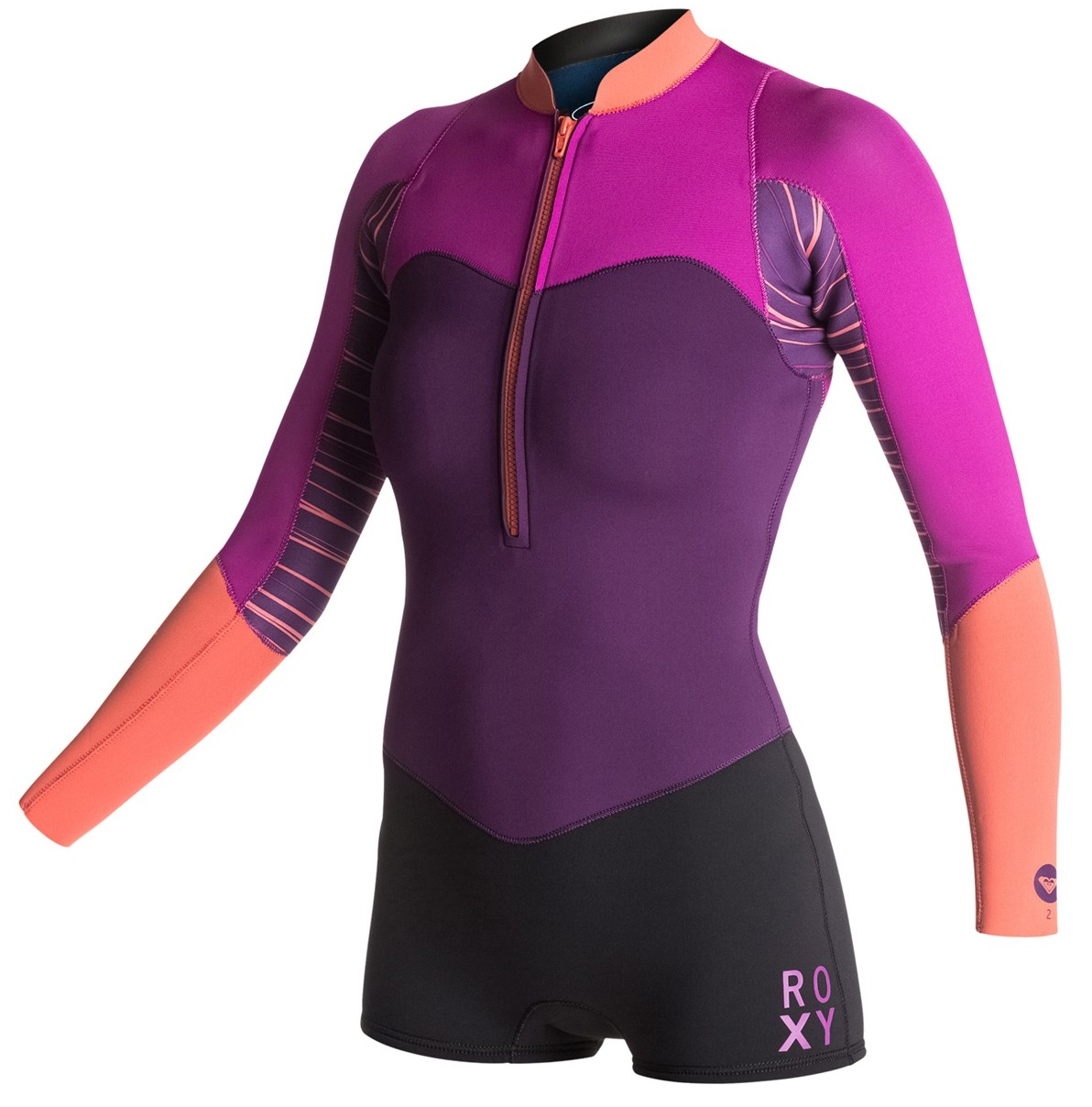 Roxy XY Springsuit  2mm Long Sleeve Womens Wetsuit Front Zip Black/Purple