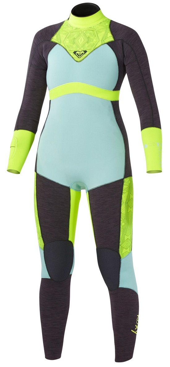 Roxy XY 3/2mm Full Back Zip Wetsuit - Black/Light Blue