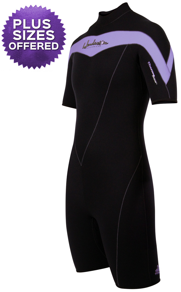Women's PLUS SIZE Offered Springsuit Wetsuit Thermoprene 3mm Purple
