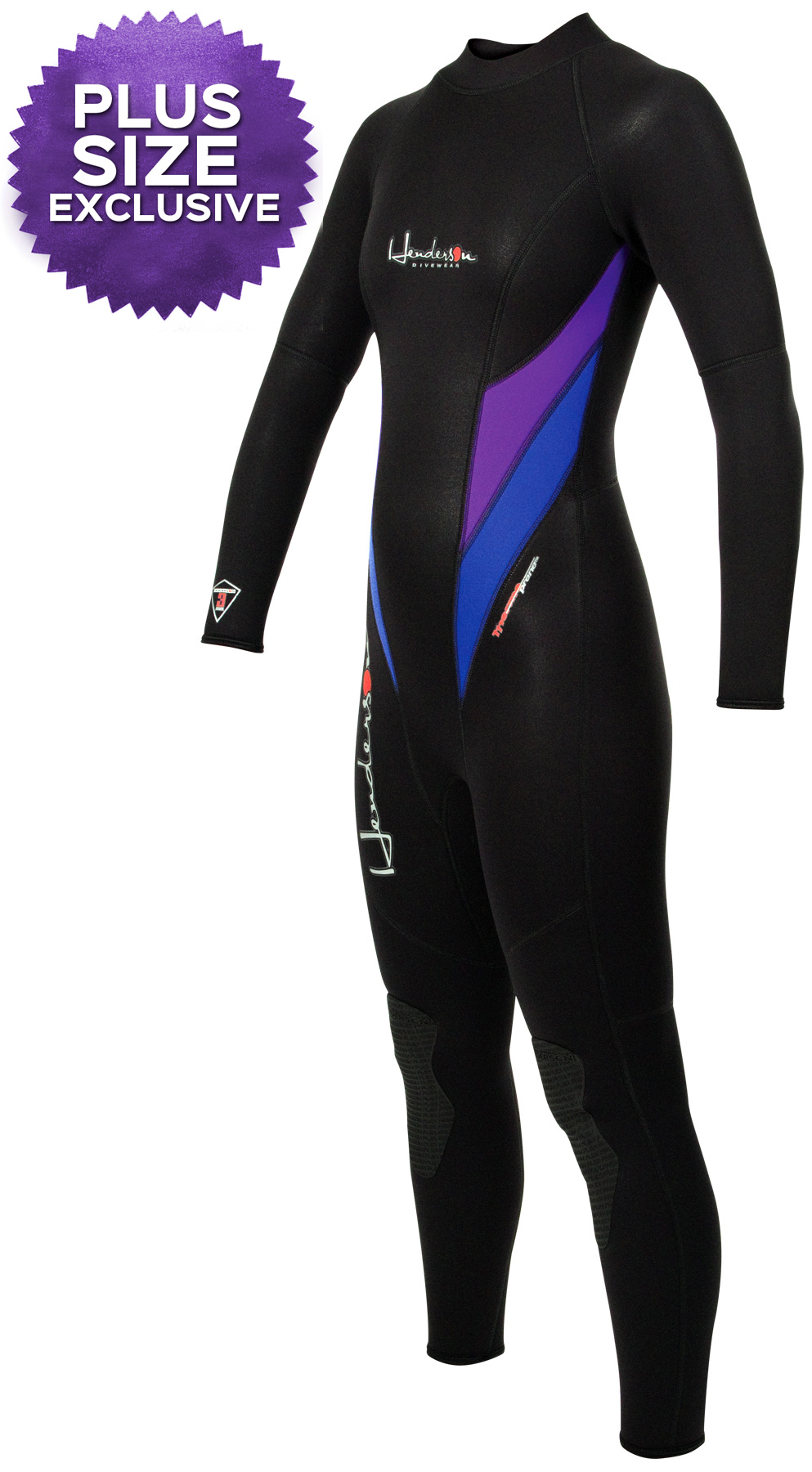 Women's PLUS SIZE Wetsuit Thermoprene 3mm Women's Purple/Black