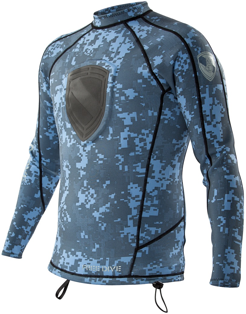 Body Glove Super Rover Free Dive 1mm Shirt Spearfishing -  NEW Blue Camo! -